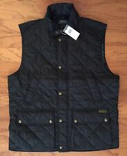 NWT $275 POLO RALPH LAUREN Men's Black Diamond Quilted Vest Fully Lined Size LT