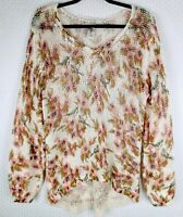 LC Lauren Conrad Disney Women's Size XL Snow White Pink Floral Sweater Hi-lo Hem