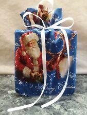Christmas Santa Claus Blue Cotton Fabric Handmade square Tissue Box Cover