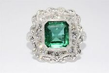 $28,000 4.46CT NATURAL COLOMBIAN EMERALD & DIAMOND COCKTAIL RING 18K WHITE GOLD