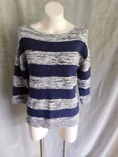 Coldwater Creek Navy White Marl Striped Raglan 3/4 Sleeve Sweater - Size Small