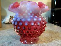 1940's Fenton Glass Cranberry Opalescent Hobnail Pattern Vase w/original sticker