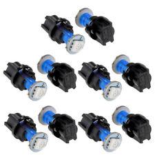 10pcs T5 LED Twist Socket Blue Instrument Panel Cluster Plug Dash Light Bulb Kit