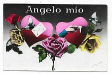 VINTAGE ITALIAN HANDS ACROSS POSTCARD PINK RED ROSES FLOWERS HEARTS BIRD LETTER