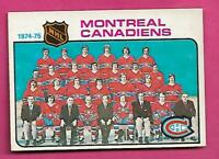 1975-76 OPC # 90 CANADIENS UNMARKED TEAM CHECKLIST NRMT CARD (INV# C7940)