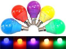 LAMPADINA LED E14 4W LUCE GIALLA BLU ROSSO VERDE VIOLA LAMPADA SFERA A COLORI
