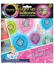 NEW illooms Disney Princess 15 Pack Light Up Balloons LED Cinderella Ariel Tiana