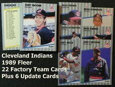 CLEVELAND INDIANS 1989 Fleer 28-Card Team Set from Factory & Update Sets