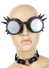 Steampunk Black Spike goggles cyber punk biker gothic rave cosplay aviator
