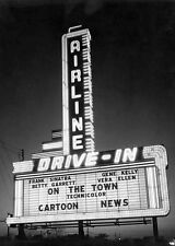 Vintage Airline Drive-In Movie Theater PHOTO Classic Screen Sign Louisiana 1939