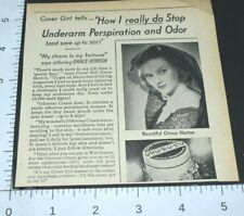 1943 Vintage Print Ad Odorono Cover Girl Underarm Perspiration Odor Grace Horton