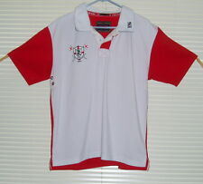 Victorious England MMX Men's Short Sleeve Polo style Shirt size Large, White/Red