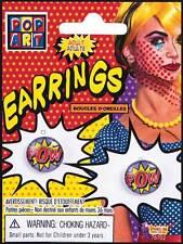 Comic Book Pop Art 'Pow' Ear-Rings Fancy Dress 1950s Fashion Jewellery Halloween