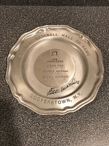 Baseball Hall of Fame 1978 Induction Plate Hand Signed By Eddie Mathews