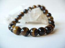 Bracelet élastique en perles d'oeil de tigre 8 mm - doré pierre fine gemme