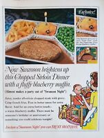 Lot of 3 Vintage Swanson TV Dinner Chopped Sirloin Print Ads