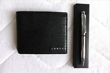 CROSS Leather Black I.D. WALLET and PEN Cards Notes ID Window New