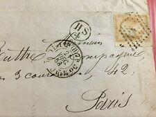 timbre NAP III 10c paille sur lettre Chemin de Fer de PARIS A ORLEANS 1858