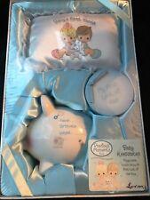 Precious moments baby shower keepsake box gift blue boy piggy bank tooth pillow
