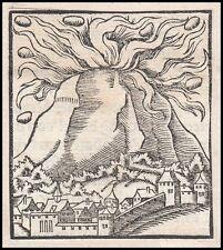 Vulkan Vulkanausbruch Pompeji Holzschnitt 16.Jh vulcano volcanic eruption Pompei