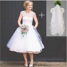 Vintage Polka Dotted Wedding Dress Short Tea Length Beach Bridal Gowns Veil Free