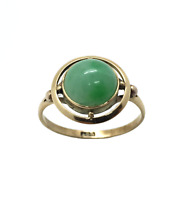 Antique Art Deco 1920's 9ct Rose Gold Jade Stone Ball Detail Ring Size – M/N