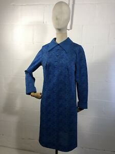 Vintage 60s Crimplene Blue Dress Size 16 Made From Terylene Polyester Fibre