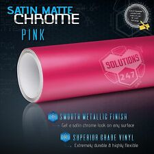 "48"" x 60"" In Pink Satin Matte Chrome Metallic Vinyl Wrap Sticker Bubble Free Air"