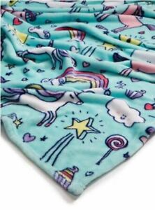 Lightning Bug Print Fleece Unicorn Soft Plush Throw Blanket Twin 70x90 NWT