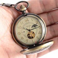 Retro Bronze Full Hunter Mechanical Pocket Chain Skeleton Watch Windup Mens Gift