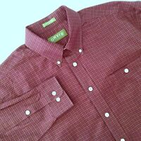 Orvis Shirt Maroon Check Cotton Button Front LS Size XL