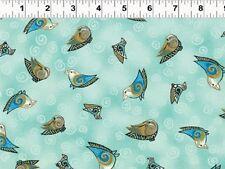 Fat Quarter Embracing Horses Birds Aqua Cotton Quilting Fabric - Laurel Burch