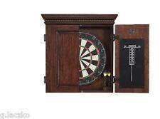 Set Dartboard Board Dart Darts Cabinet Game New 6 And Walnut Finish Realistic