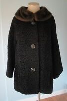 Sweet Vintage 50's 60's Faux Curly Persian Lamb Coat Faux Fur Collar Bust 44""