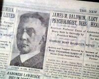 JAMES MARK BALDWIN American Philosopher & Psychologist DEATH 1934 Old Newspaper