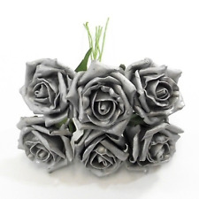 Large Silver Grey Roses Stunning Pearl Foam 6cm Heads Wired Stem x 6