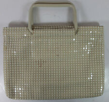 Vintage Lumured White Lucite Squares Sequined Pull Apart Lucite Handles Handbag