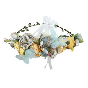 Adjustable Women's Flower Headband Crown Hair Wreath Wedding Garland Ribbon