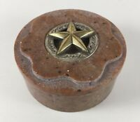 Texas Lone Star Round Trinket Box w/ Lid Marble Stone Metal Made in India