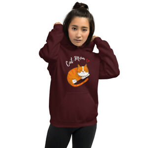 Cat Mom Softest Hoodie Cotton Comfy Hoodie Cat Sweater, cat lovers, gift for mom