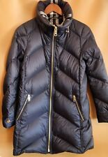 #129 Burberry Eastwick Chevron Quilted Coat Size XS  Blue   $995 retail