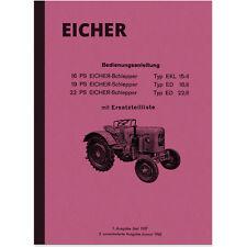 Eicher TRATTORI 16 19 22 CV manuale d'uso di pezzi di ricambio elenco manuale ed EKL