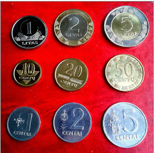 Lithuania 5,2,1 litai, 50,20,10,5,2,1 centu,9 COIN FULL SET  UNC 1991 ,2008,2013