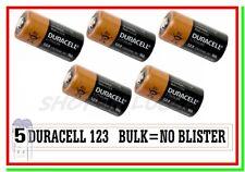 """5 DURACELL 123 Litio CR 17345 Batterie Pile Softair Foto Allarmi Sensori """"BULK"""""""