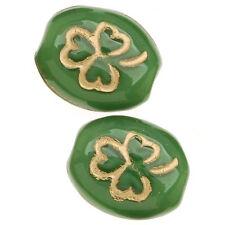 Czech Glass Oval Beads St Patrick's Shamrock Green/Gold