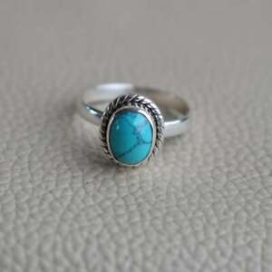Natural Turquoise Ring-Handmade Silver Ring-925 Sterling Silver-Oval Turquoise