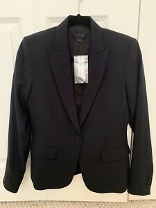 NEW $395 Theory Gabe B Blazer Jacket Suit Size 4 NAVY Stretch Tailor Wool Blend