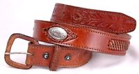 Vintage Leather Belt-34-Tooled-Weave-Handmade-Conchos-Brown-Leather Buckle-