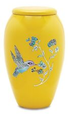Yellow Hummingbird 210 Cubic Inches Large/Adult Funeral Cremation Urn for Ashes