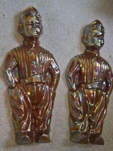 2 Iridescent cast iron statues - fire companions - Russian/Eastern European folk